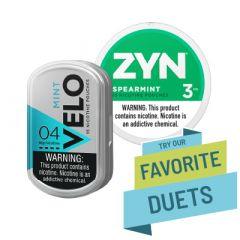 Zyn & Velo Spearmint Duet, Nicotine Pouches6